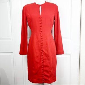 Tahari Red Buttons Long Sleeve Dress